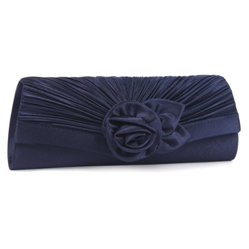 Damara Women's Satin Pleated Flower Front Evening Bag Clutch Handbag,Navy Blue