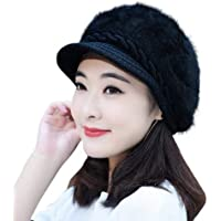 DELHITRADERSS® Winter Hats for Women Girls Warm Wool Knit Snow Ski Skull Cap with Visor(Black)