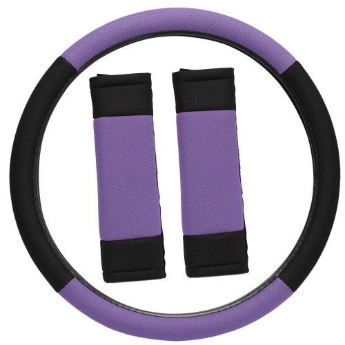 OxGord Sport Mesh Steering Wheel Cover and Seat Belt Pad Set for the Chevrolet Cruze Sedan in Purple & Black Mesh
