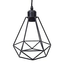Lightess Hanging Pendant Lights Vintage Industrial Edison Ceiling Lamp Diamond Cage Black Lighting Fixture for Kitchen Dining Room