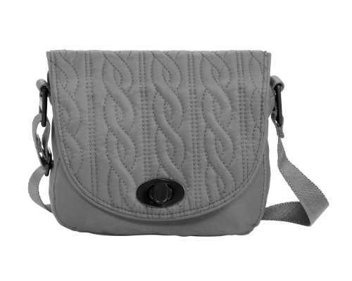 Baggallini Luggage Delight Mini Satin Quilted Crossbody Bag, Pewter, One Size Delight Quilted Bag