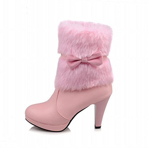 Shoes Ankle fur High Faux Boots Mee Pink Womens high heel Sq6STd