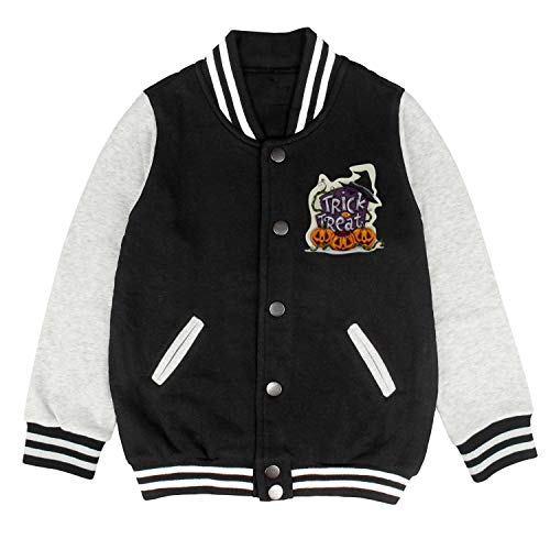 HKSDAS Halloween Trick Treat Witch Pumpkins Kids Girls Boys Baseball Jacket Varsity Jacket Top 2-10 Year -