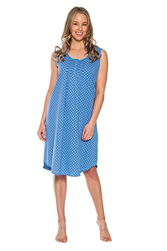 Patricia Women's 40'' Soft Sleepshirt Night Gown Dress (Blue, Large)