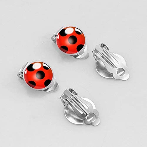 SAGEIVE Clip on Earrings No Pierced Silver Ear Cuff Black Spot Red Earrings Party Accessories for Women Girl Kids Cosplay Birthday Party