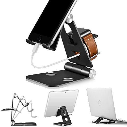 3 in 1 Phone Stand | Foldable Cell Phone Stands | for Apple Watch Stand | Portable Phone Holder Stand | Desktop Charging Dock | Cradle/Mount for iWatch iPhoneX, 8 7 6s Plus 8s c, Android by Tensteed