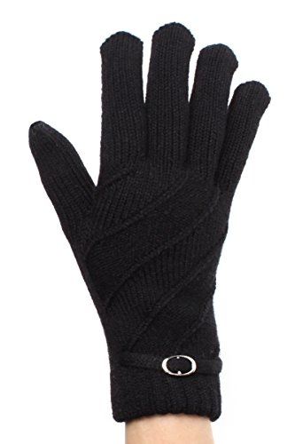 LL Black Gloves Women Silver Circle Buckle Accent Tie Fleece (Black Tie Circle)