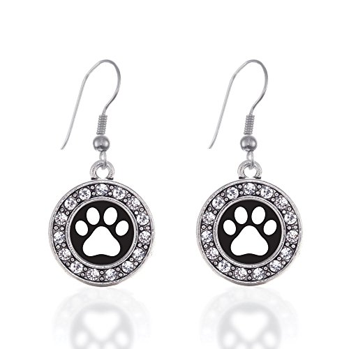 Inspired Silver - Black and White Paw Print Charm Earrings for Women - Silver Circle Charm French Hook Drop Earrings with Cubic Zirconia Jewelry (Puppy Dangle Earrings)