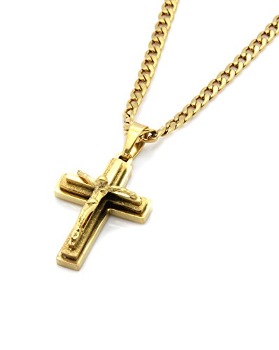(Mens Gold Tone Stainless Steel Mini God Cross Pendant 24