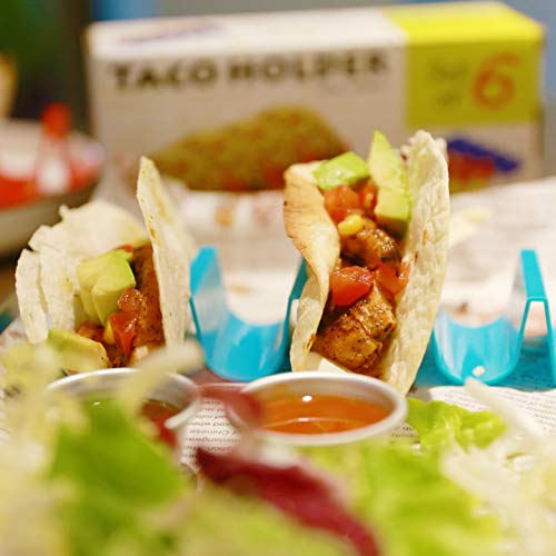 7 Pcs Taco Holders,Colorful Taco Stand,Taco Truck Tray Style,Taco Plate,Taco Trays for Cafe,Restaurant,Festivals