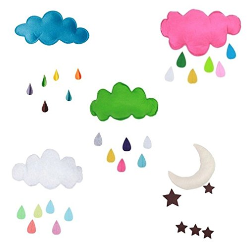 MONOMONO-Nursery Kids Tent Decoration Moon Star Clouds Water Drop Hanging Toy Pillow Gift - P Air Cheap
