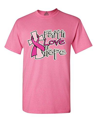 Faith Love Hope T-shirt Breast Cancer Shirts X-Large Azalea Pink Faith Love Hope (Hope Faith Love Pink Ribbon)