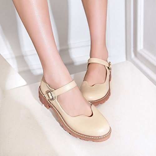 Charm Foot Womens Sweet Low Heel Ankle Strap Mary Jane Shoes Beige 79s2Zr