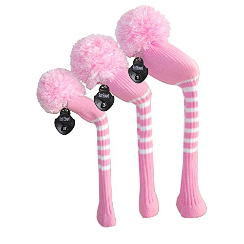 (Scott Edward Vintage Pink Color Golf Pom Pom Head Covers Lady Golfers, Set of 3 for Driver, Fairway Wood, Hybrid, with Rotating Number Tags)