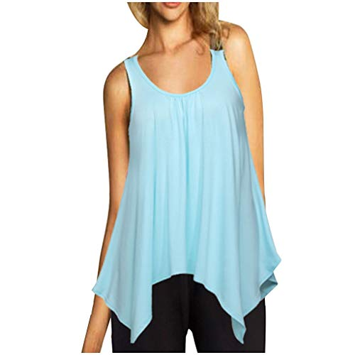 (TOOPOOT Woman Blouse  Fashion Summer Loose Casual Irregular Hem O-Neck Sleeveless Tops Mint Green)