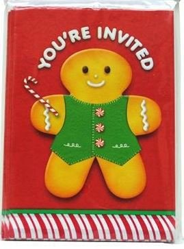 8 Cute Ginger Bread Man Christmas Eve Invitation Cards With Envelopes Rsvp Party Celebration Dinner Kid Child Family Friend