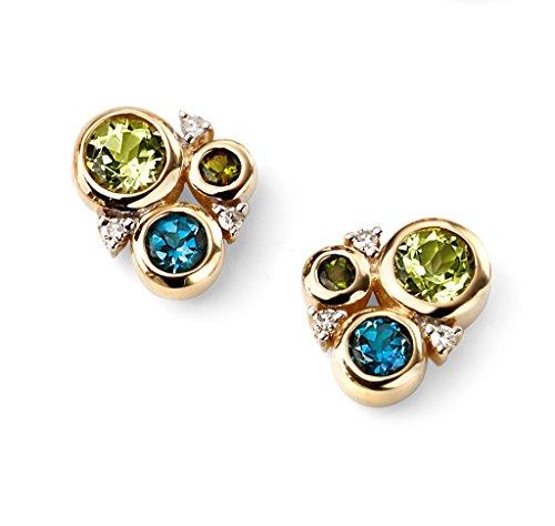 Jewellery World Bague en or jaune 9carats Diamant, topaze, péridot et Tourmaline Cercle Vert Boucles d'oreilles