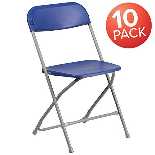 Flash Furniture 10 Pk. HERCULES Series 800 lb. Capacity Premium Blue Plastic Folding Chair