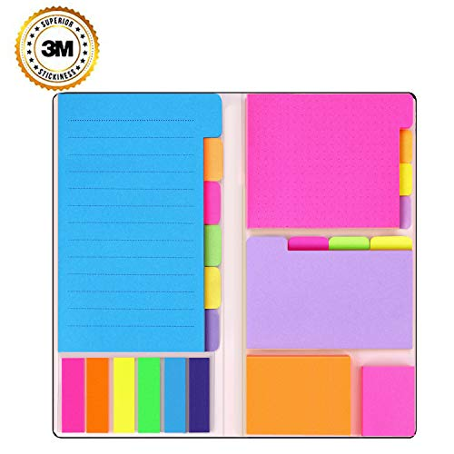 Super Sticky Notes by Housim - Super Glue, Bookmark, Prioritize and Set Goals with Color Coding, 60 Ruled (4x6), 48 Dotted (3.8x3), 42 Blank (3.5x2.6), 42 Orange and Pink (1.8×2.4), 25 per PET Color ()