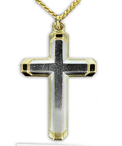 14K Gold over Solid .925 Sterling Silver 2-Tone cross crucifix Necklace Comes With A 24'' Chain Necklace in a deluxe velvet ()