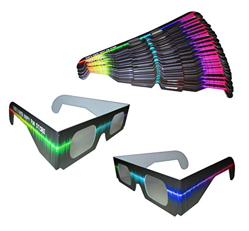Rob's Super Happy Fun Store Fireworks Diffraction Glasses - Rave Waves - 50 Pair Paper Glasses - See Colorful Rainbows Around Points of Light Perfect for Festivals, Holiday Lights, Parties (Best Music For Fireworks Display)