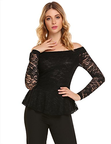 Zeagoo Floral Lace Blouses For Women, Ladies Tops For Work Casual Long Sleeve Shirts Black L