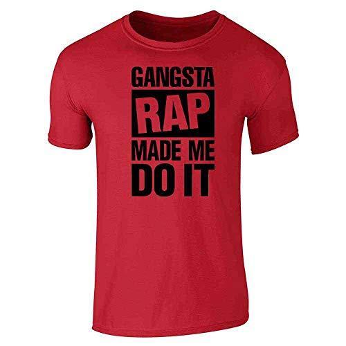 Gangsta Rap Made Me Do It Red 3XL Short Sleeve - Advisory Mens T-shirt
