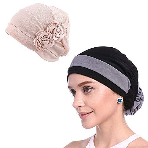 WETOO 2 Pack Women Chemo Hat Beanie Flower Headscarf Turban Headwear for Cancer