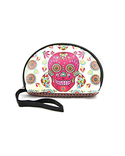 Skull Makeup Bags Day of Dead Accessories Sugar Skull Gifts Skull Mexican Cosmetic Bag]()