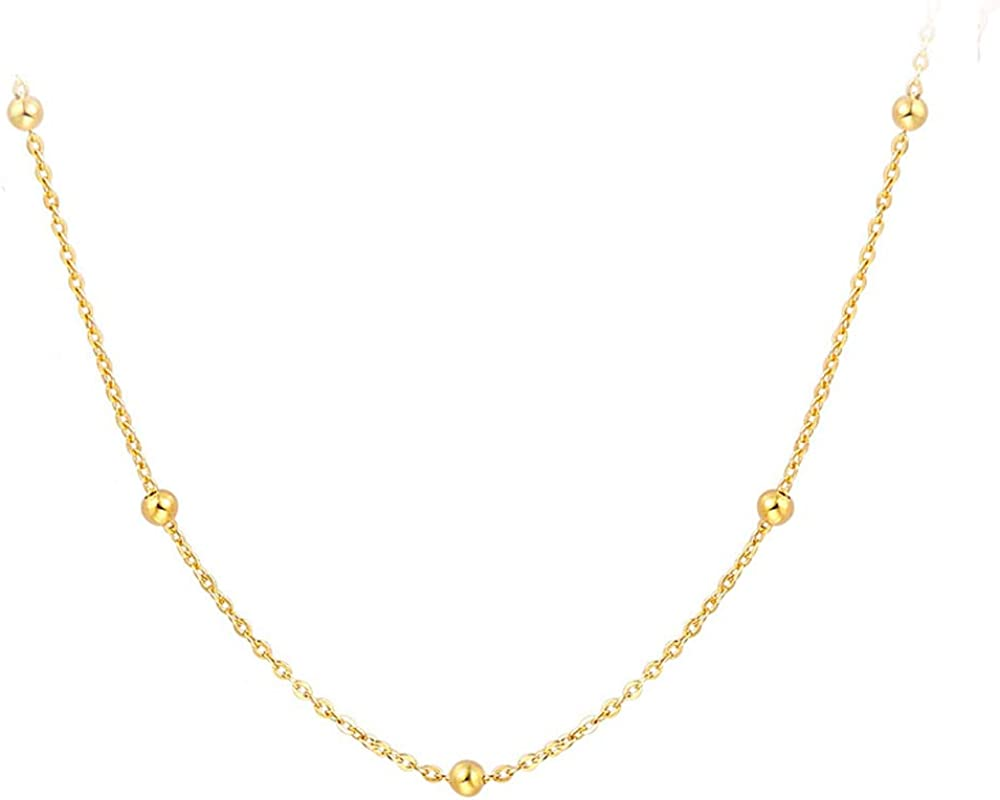 Womens Mens Kids 925 Sterling Silver Gold Plated Plain Beads Chain Necklace 24