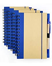 """Wirebound Writing Kit, Spiral Notebook, Lined Notepad with Hardboard Cover and Ballpoint Pen, 5.5""""x7"""", Set of 4"""