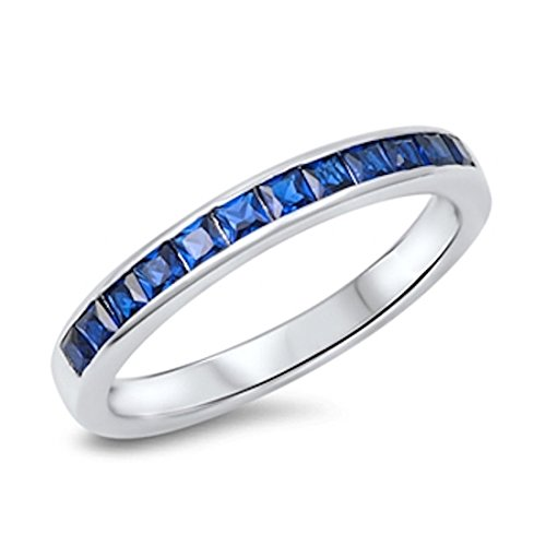 Blue Apple Co. 3MM Half Eternity Wedding Band Ring Princess Cut Simulated Sapphire CZ 925 Sterling Silver ()
