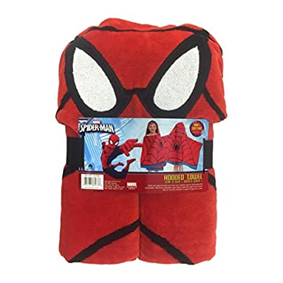 MISC Kids Hooded Towel Red Black Spiderman Pattern Bath Robe Blue Avengers Theme Childrens Towels Spider Man Superhero Comic Books Linen Bathroom, 1 Piece Cotton