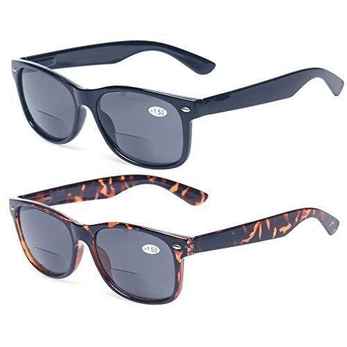 Bifocal Reading Glasses Grey Lens Spring Hinge Plastic Outdoor Sunglasses (1 Black 1 Tortoise, ()