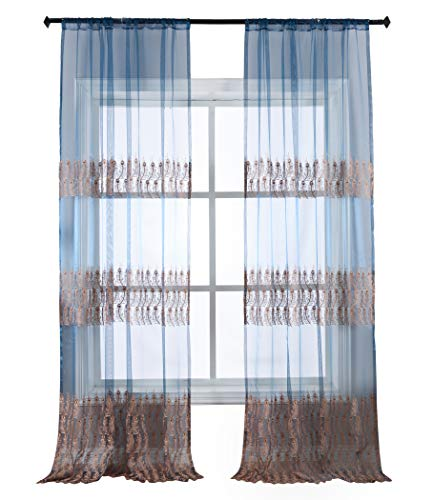 Price comparison product image Aside Bside Sheer Window Curtains Feather Print Rod Pocket Top Voile Panels Treatments for Living Dining Room & Bedroom(1 Panel,  W 100 x L 84 inch,  Blue) -X0440C1FFCBU310084-8503