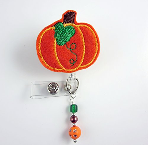 Pumpkin - Nurse Badge Reel - Retractable ID Badge Holder - Nurse Badge - Badge Clip - Badge Reels - Pediatric - RN - Name Badge Holder