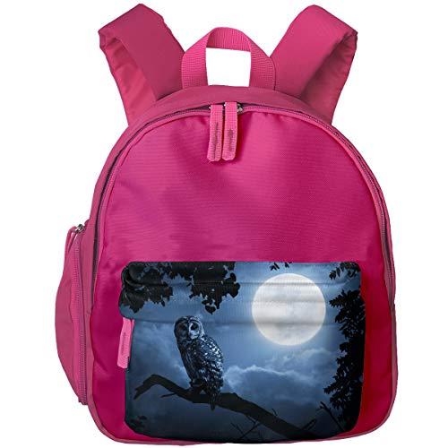Owl Illuminated By Full Moon On Halloween Night Children Backpack Pocket Zipper Outdoor Travel School Book Bag ()