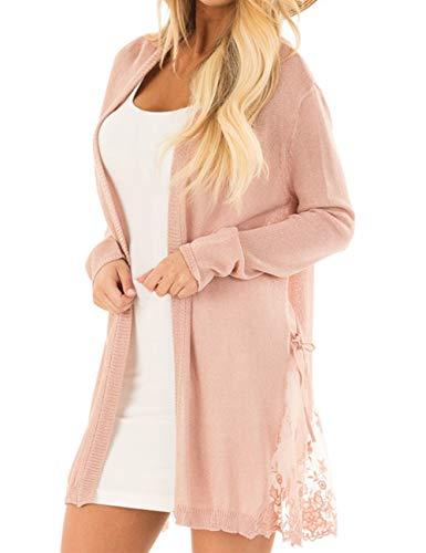 Lookbook Store Women Long Open Front Lightweight Cardigan Sweater Knit Outerwear