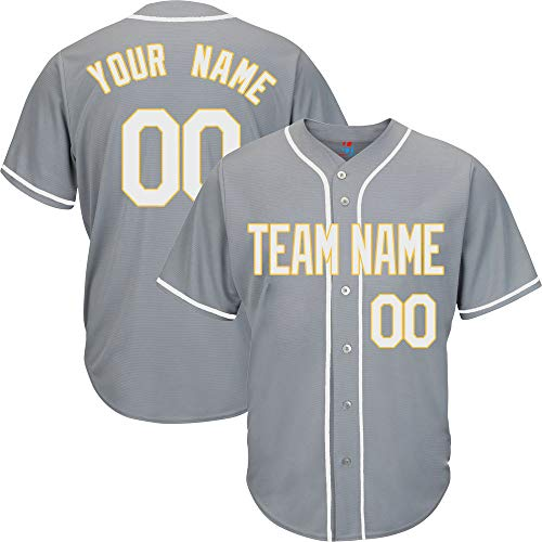 (Gray Customized Baseball Jersey for Women Button Down Embroidered Team Player Name & Numbers,White-Yellow Size S)