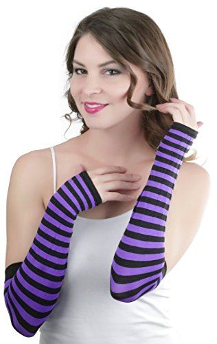 Striped Nylon Gloves (ToBeInStyle Women's Striped 100% Nylon Arm Length Warmers - Black With Purple Stripes One Size)