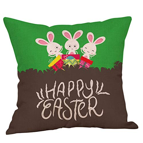 (Happy Easter Bunny Pillow Cover Linen Sofa Cushion Cover Home Decor Pillow Case(4-F,Size:45cm45cm))
