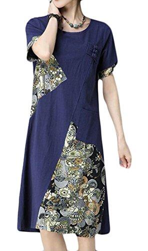 Les Femmes Domple Linge De Coton Vingtage Une Ligne Imprimé Floral Manches Courtes Décontracté Bleu Marine Robe Midi