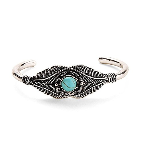 Gguogoo Cuff Etched Floral Leaf Fashion Jewelry Brass Alloy Bracelets Turquoise Bead Openings Bangle Bracelet