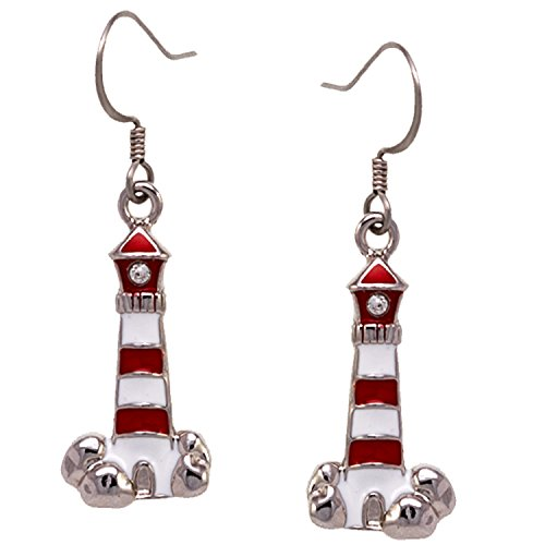 Lighthouse Drop Earrings SilverTone and Inlay by Cape Cod - Cities Gulf Texas The On