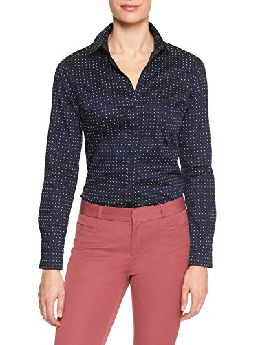 Banana Republic Womens Tailored Non-Iron Long Sleeve Dot Print Navy Blue Shirt (4)