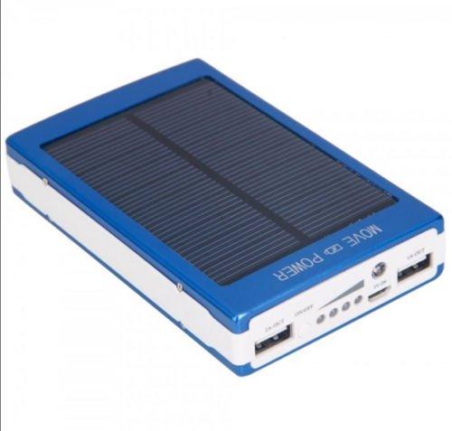 Cargador de batería solar power bank para teléfono celular azul 30000mAh Dual USB Portable