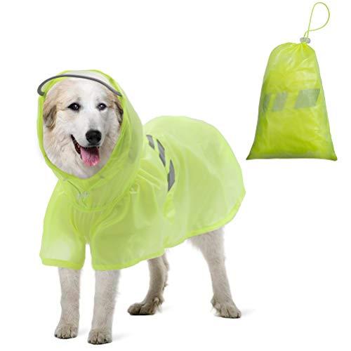 BINGPET Dog Raincoat for Large Dogs - Waterproof Pet Rain Jacket with Hood - Reflective/Lightweight Rain Poncho Yellow