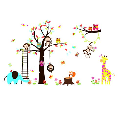 Rainbow Fox Jungle Zoo Animal Monkey, Owl and Girafee Playing Around Colorful Tree Monkey Wall Decal Owl Wall Sticker (Colorful The Squirrel Owl Monkeys)