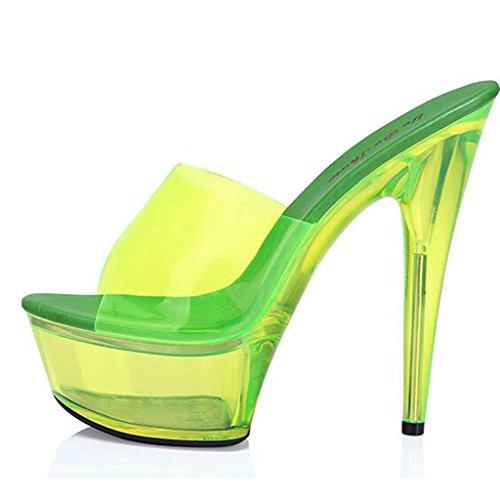 Plataforma Fina con Tacones Yellow Sandalias Impermeable Trabajo Zapatos Altos Lugar Salón 15cm Trabajo Flop Mujer Fluorescentes de de Para Flip xwI8pzqFY