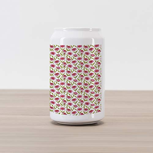 Ambesonne Daisy Cola Can Shape Piggy Bank, Fresh and Organic Echinacea Petals Floral Themed Image Healthy Wildflower Design, Ceramic Cola Shaped Coin Box Money Bank for Cash Saving, -